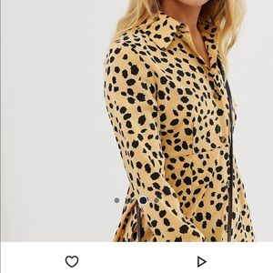 ASOS Yellow Dalmatian Print shirt dress
